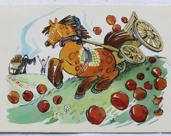 "Illustrators Alexeev, Stroganova. Vintage Soviet Postcard ""Wagon train"" Fable of Krylov - 1960s. Sovetskiy hudozhnik. Horse, Cart, Pots"