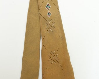 Original vintage 1950s tie - gold with dots and diamonds