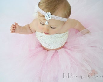 Little Hollywood-Rhinestone & Lace Teardrop Headband. Choose your size and color. Newborn, prop, flowergirl,special occasion, first birthday