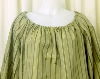 Olive & Taupe Stripe Silk Fabric Peasant, Pirate, Renaissance Blouse, Size M