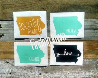 Decal Sticker Native Local Love Decal State Iowa Car Laptop Vinyl Sticker//custom state decal//laptop decal//bridesmaid gift//macbook decal
