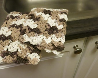 Crochet Dish Cloth Set in Brown and White
