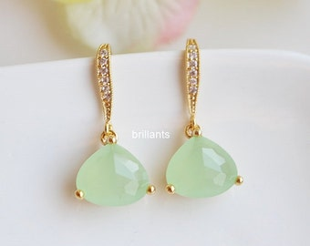 Mint green glass earrings in gold, Mint earrings, Bridesmaid jewelry, Everyday earrings, Wedding earrings