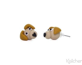 Blonde Golden Retriever/ Yellow Labrador Retriever Stud Earrings - Handmade Polymer Clay Dog Earrings Which Make a Great Gift for Dog Lovers