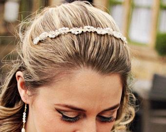 Bridal tiara. Bride tiara.  Wedding tiara.  Pearl tiara.  Headband.  Bridal headband.