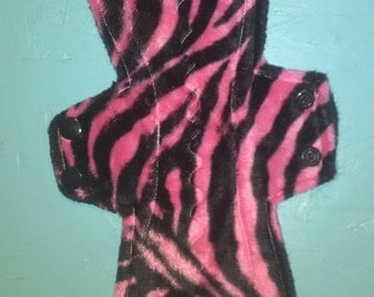 10.5 inch pink and black zebra minky