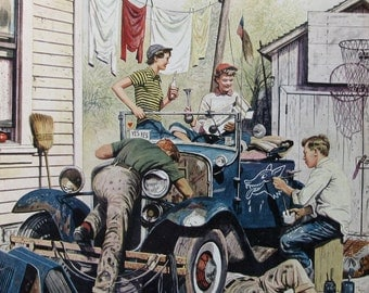 1950 Teenagers Working on the Jalopy - Saturday Evening Post Magazine Cover - Gift for Car Lover - Stevan Dohanos Art
