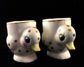 SALE Retro/Vintage 1950s - 50s - polka dot duck kitsch egg cups mid century