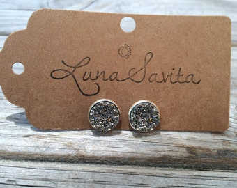 Silver Druzy Earrings, Faux Druzy Earrings, Bridal Druzy, Stud Earrings