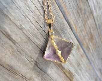 Purple Fluorite Raw Crystal Necklace, Fluorite Necklace, Crystal Necklace, Hexagonal Crystal Necklace