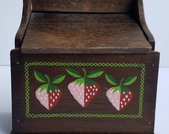 Woodcrest by Styson Wall Mount or Counter Recipe Box with Strawberries