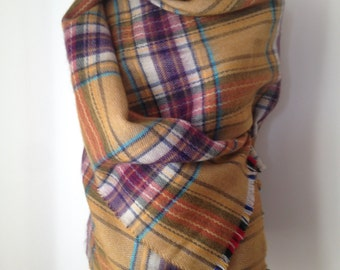Honey Color Tartan Plaid Blanket Scarf, Casual Fall Winter Scarf, Warm Fashion Shawl, Oversize Wrap, Fashion Trend Accessory, Gift For Her