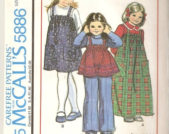 VINTAGE McCall's Sewing Pattern 5886 - Children's Clothes - Girl's Jumper or Top, Size 3