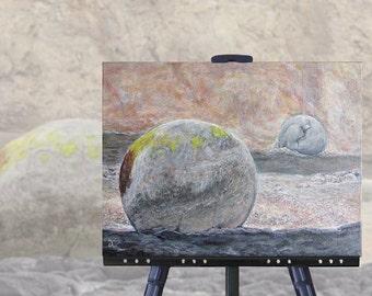 Dramatic Beach Landscape, original painting, Moeraki Boulders New Zealand, 12 x 16 canvas, original art, NZ artist, free shipping
