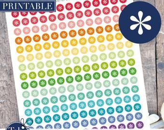 208 basic * rainbow printable planner dot stickers, circles for Erin Condren planner.