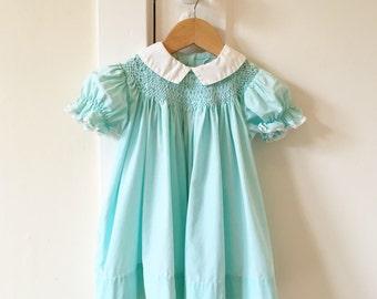 2T: Aqua Polly Flinders Bishop Dress with Hand Smocking, 1950's, Vintage Toddler Girl