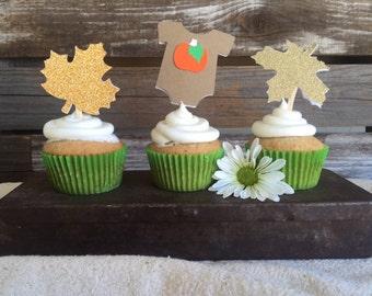 Little Pumpkin Fall Babyshower Cupcake Toppers - Pumpkin Party, Fall Party, Birthday Party, Party Decorations, Baby Shower
