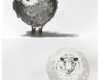 Ewenice and St Patty Sheep Combo: Ink wash original art