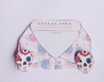Collar pin - shirt - Old school tattoo Sugar Skull