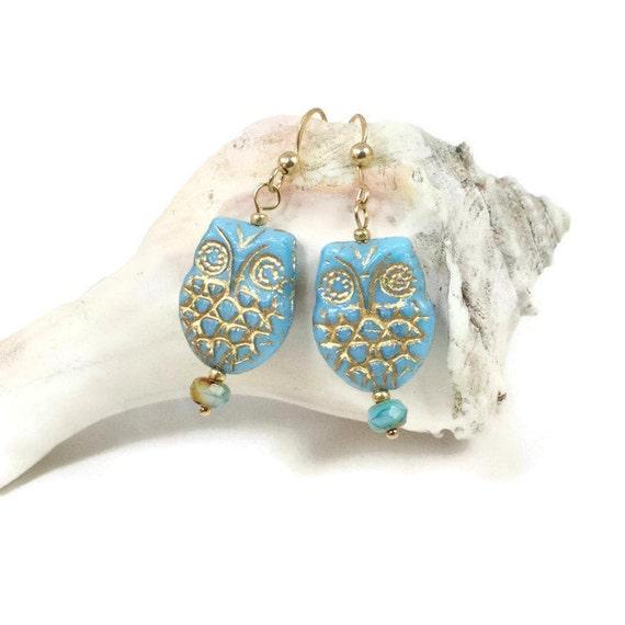 blue owl jewelry nature earrings for owl earrings for