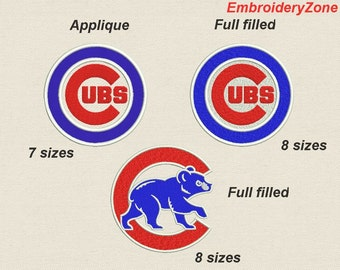 SET Chicago Cubs Embroidery Design (Full filling design and APPLIQUE) Emblem Baseball team MLB. 8 and 7 Sizes Hoop 4x4 5x7 6x10 7x11