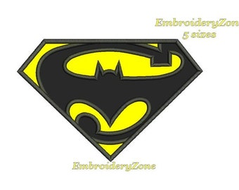 Logo Batman & Superman. Embroidery Design in technique Applique. Simvol Superhero comics Batman vs. Superman. 5 Sizes. Instant Download