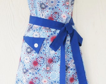 Patriotic Apron, July 4th, Fireworks Apron, Red White and Blue, Womens Full Apron, KitschNStyle