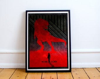 Jurassic World Poster - Minimalist Style Print - Jurassic Park - (Available In Many Sizes)