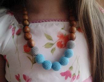 Nursing necklace.Teething necklace.Applewood.Organic cotton.Blue necklace.Wood.