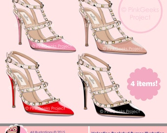 Valentino Rockstud Illustration - Printable, Instant download, Clipart, Personal and Small Commercial Use