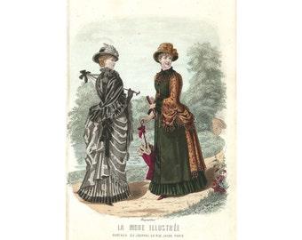 Mode de Paris, La Mode Illustrée, Hand Colored French Lithographic Print, 1870-90, Breant-Castel Dress, #23