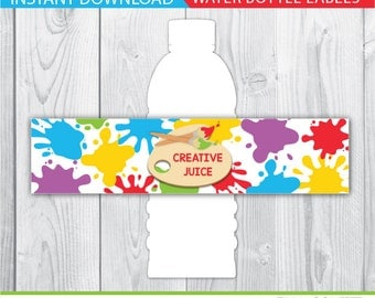 Art party water bottle labels, Art party water bottle wraps, Art party decoration, Art party decor, art birthday party, creative juice, PDF