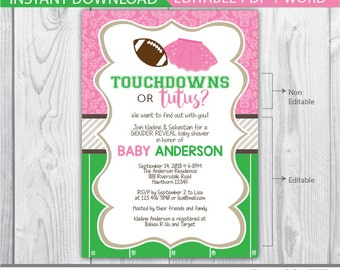 touchdowns or tutus invitation, touchdowns or tutus gender reveal invitation, tutus or touchdowns invitation, baby shower, gender reveal