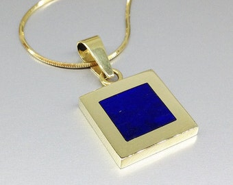 Lapis Lazuli pendant with contemporary design with 18K gold - gift idea