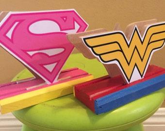 Supergirl, wonder woman Napkin Holder. Superman theme party decoration centerpiece super hero, super girl