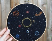 "Solar System Embroidery Art - 8"" hoop, celestial stars, Sun and planets, hand stitched space wall art, Milky Way galaxy, handmade stitch art"
