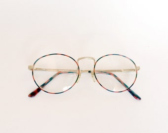 80s Gold/Red Tortoise Wire Glasses