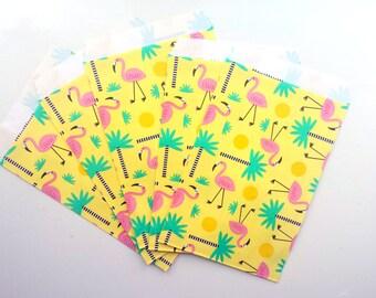 Flamingo paper bags - Set of 5 bags - YELLOW
