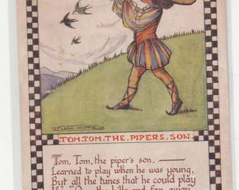 Flora White A/S Circa 1920 Nursery Rhyme Tom Tom The Pipers Son, Unused
