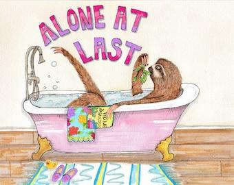 Sloth in a tub painting, happy sloth art, funny sloth watercolor, bathroom art, clawfoot tub painting