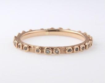 14K Gold Thin Diamond Eternity Band, Diamond Wedding Band, Diamond Eternity Band, Engagement Ring,Cognac Diamond Ring, Stackable Ring