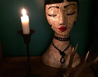 Mannequin head // bohemian art head // hat & jewellery stand // Wig stand // bohemian decor