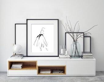 Ballerina Wall Art Print,  Ballet Ink Drawing, Minimalist Black and White Modern Art, Ballet Dance Art