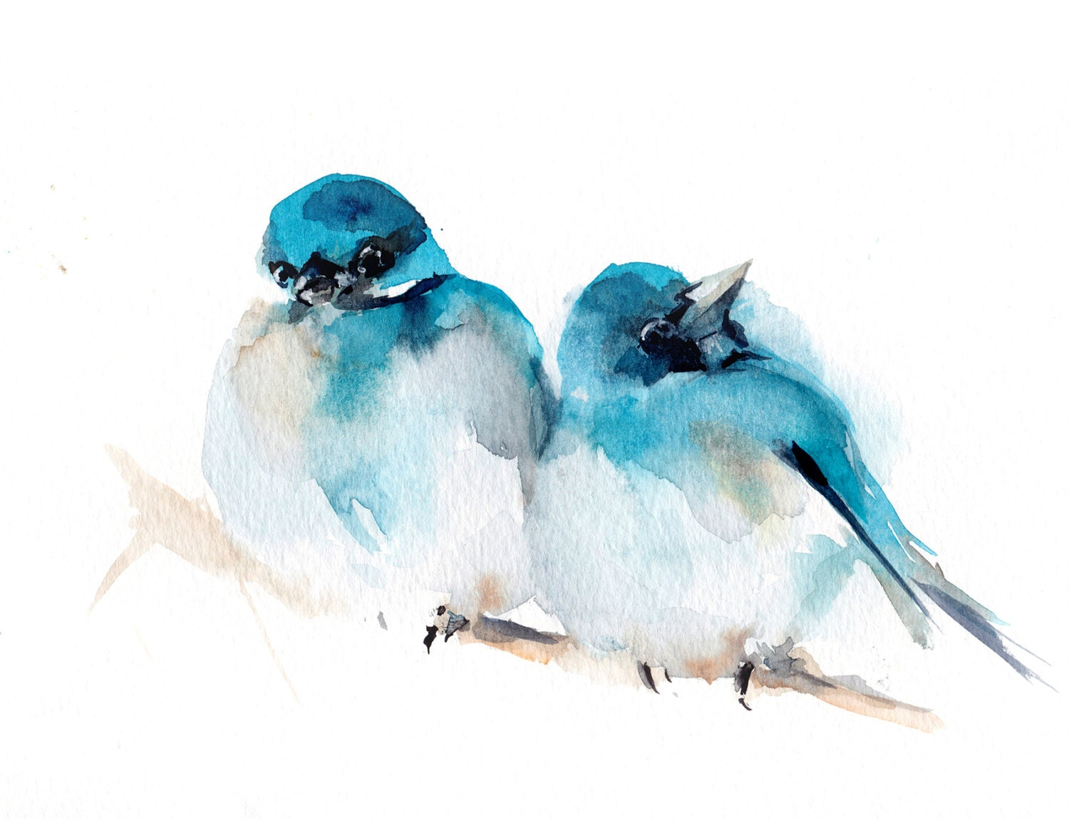 Bird Watercolor Print Two Turquoise Birds By Canotstopprints