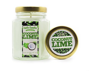Coconut Lime Scented Soy Candle | Handmade Scented Candle -- 4oz