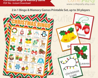 Christmas Bingo & Memory Game, Printable Christmas Bingo Game, 2 in 1 Christmas Bingo and Memory Game, Christmas Party Printable