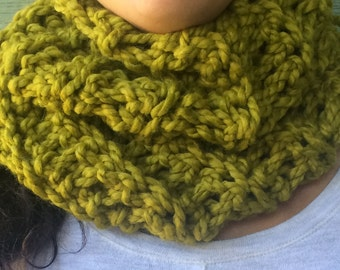 Scarf olive green chunky Crochet neck warmer Fall Winter Accessories