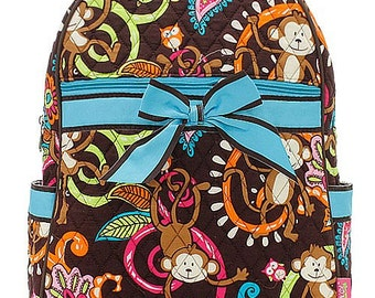 Monkey Print Quilted Monogrammed Backpack Turquoise Blue Trim