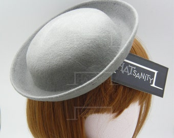 TRENDY Fashion Plain Wool Felt Mini Bowler Hat Fascinator - Grey