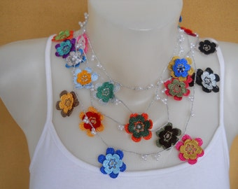 Crochet Necklace, Lariat Necklace, Spring Flowers, Colorful, Beaded Necklace